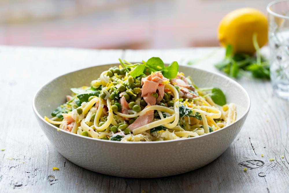 pasta zalm spinazie